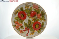 Декоративная тарелка, Фарфор, Ручная роспись, Коростень