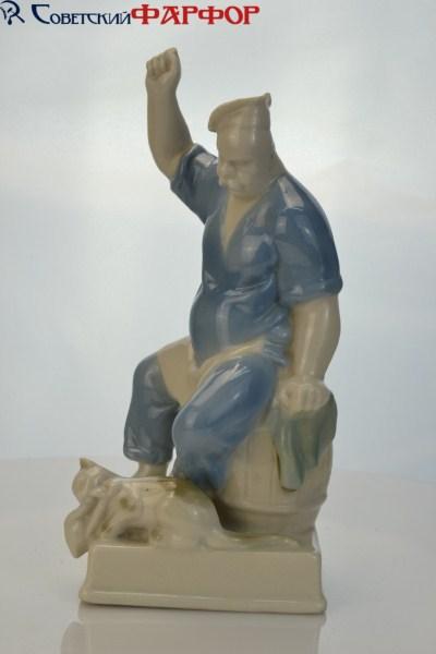 """Фарфоровая статуэтка """"Повар и кот"""" Полоне ЗХК (УССР)"""